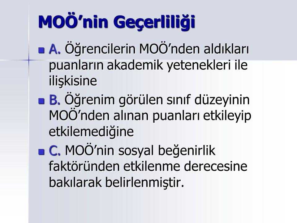 MOÖ'nin Geçerliliği A. Öğrencilerin MOÖ'nden aldıkları puanların akademik yetenekleri ile ilişkisine A. Öğrencilerin MOÖ'nden aldıkları puanların akad