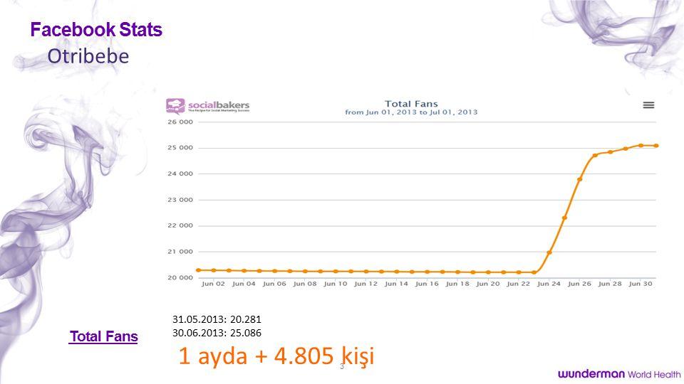 3 Otribebe Facebook Stats Total Fans 31.05.2013: 20.281 30.06.2013: 25.086 1 ayda + 4.805 kişi