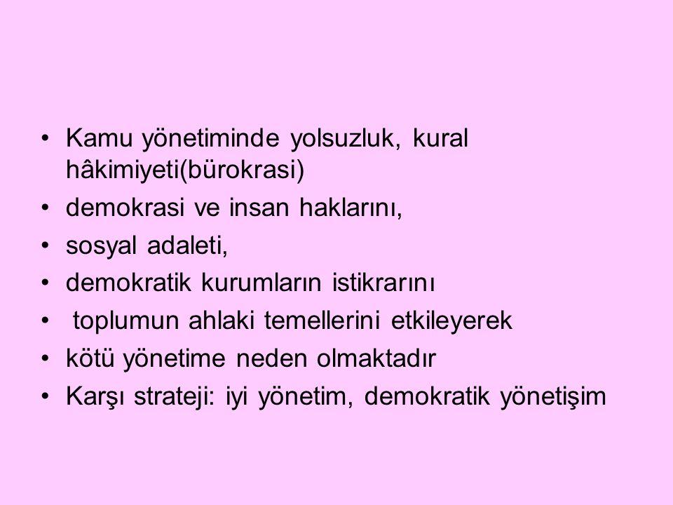 Kamu yönetiminde yolsuzluk, kural hâkimiyeti(bürokrasi) demokrasi ve insan haklarını, sosyal adaleti, demokratik kurumların istikrarını toplumun ahlak