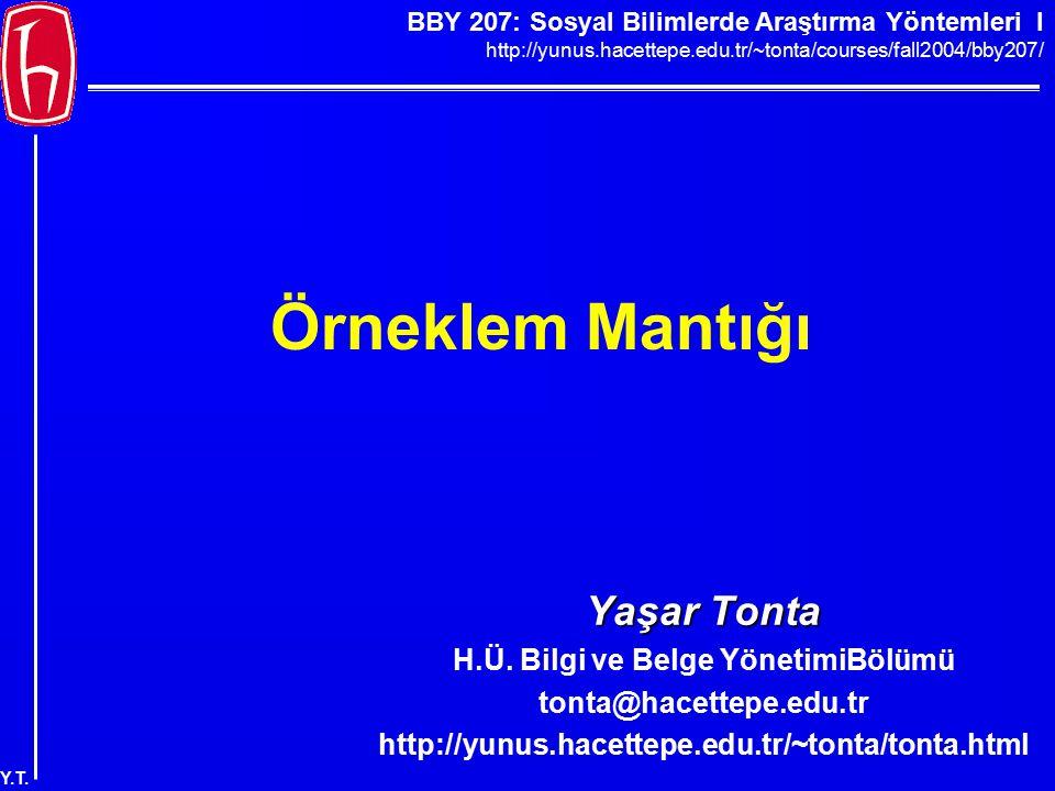 BBY 207: Sosyal Bilimlerde Araştırma Yöntemleri I http://yunus.hacettepe.edu.tr/~tonta/courses/fall2004/bby207/ Y.T. Örneklem Mantığı Yaşar Tonta H.Ü.