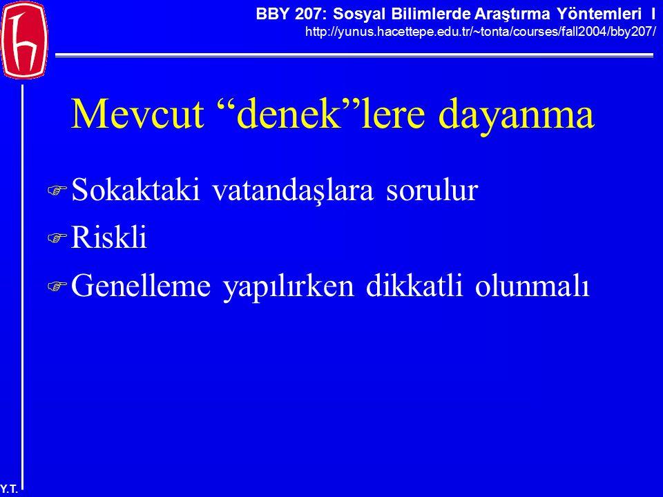 """BBY 207: Sosyal Bilimlerde Araştırma Yöntemleri I http://yunus.hacettepe.edu.tr/~tonta/courses/fall2004/bby207/ Y.T. Mevcut """"denek""""lere dayanma  Soka"""