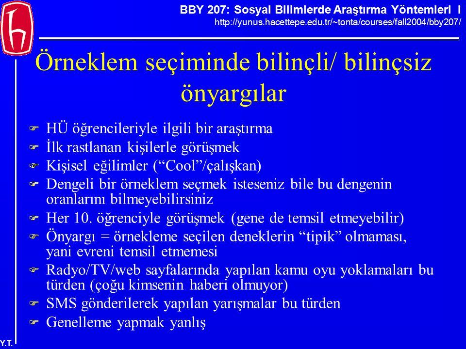 BBY 207: Sosyal Bilimlerde Araştırma Yöntemleri I http://yunus.hacettepe.edu.tr/~tonta/courses/fall2004/bby207/ Y.T. Örneklem seçiminde bilinçli/ bili