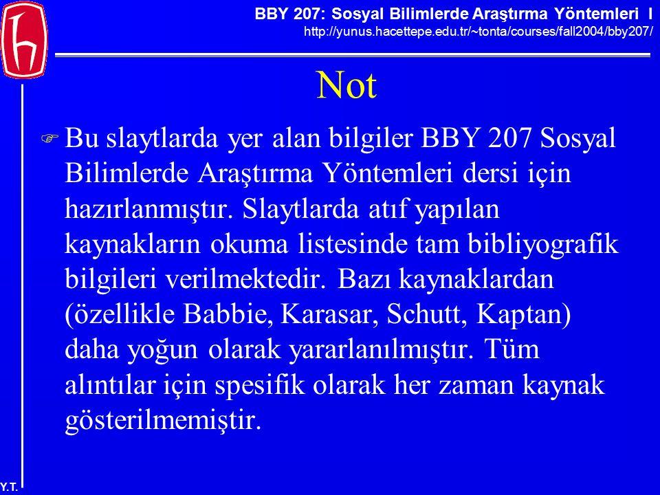 BBY 207: Sosyal Bilimlerde Araştırma Yöntemleri I http://yunus.hacettepe.edu.tr/~tonta/courses/fall2004/bby207/ Y.T. Not  Bu slaytlarda yer alan bilg