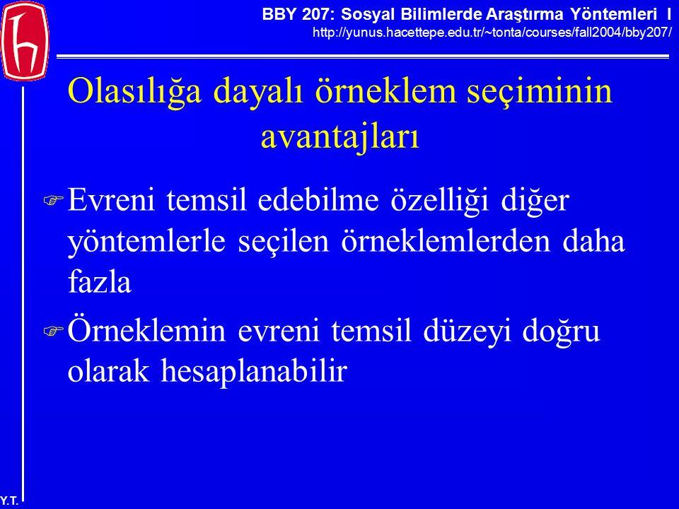 BBY 207: Sosyal Bilimlerde Araştırma Yöntemleri I http://yunus.hacettepe.edu.tr/~tonta/courses/fall2004/bby207/ Y.T. Olasılığa dayalı örneklem seçimin