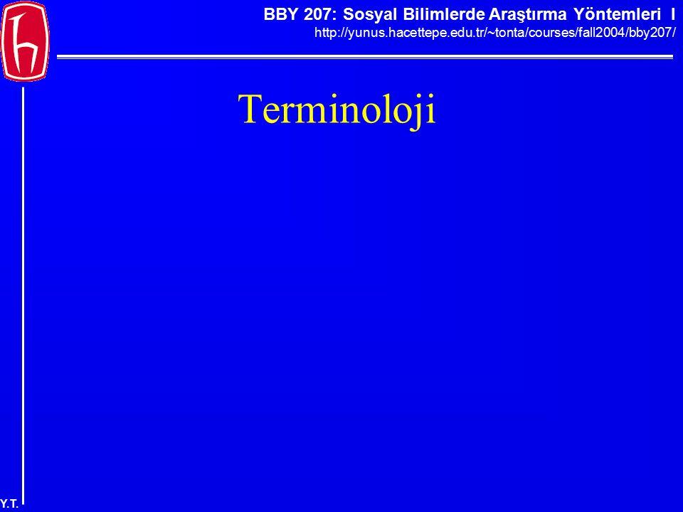 BBY 207: Sosyal Bilimlerde Araştırma Yöntemleri I http://yunus.hacettepe.edu.tr/~tonta/courses/fall2004/bby207/ Y.T. Terminoloji