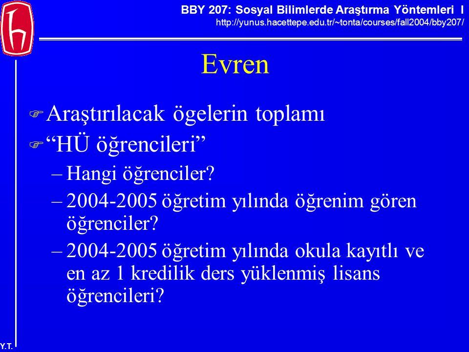 BBY 207: Sosyal Bilimlerde Araştırma Yöntemleri I http://yunus.hacettepe.edu.tr/~tonta/courses/fall2004/bby207/ Y.T. Evren  Araştırılacak ögelerin to