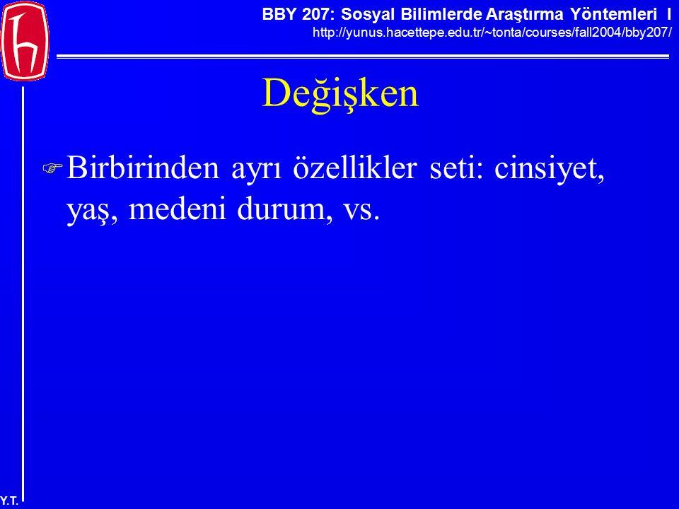 BBY 207: Sosyal Bilimlerde Araştırma Yöntemleri I http://yunus.hacettepe.edu.tr/~tonta/courses/fall2004/bby207/ Y.T. Değişken  Birbirinden ayrı özell