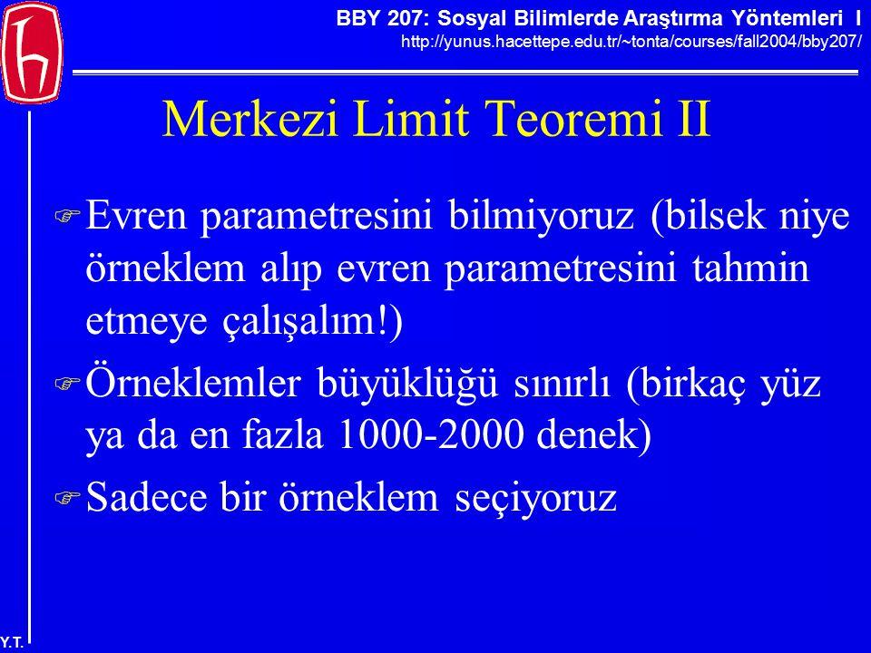 BBY 207: Sosyal Bilimlerde Araştırma Yöntemleri I http://yunus.hacettepe.edu.tr/~tonta/courses/fall2004/bby207/ Y.T. Merkezi Limit Teoremi II  Evren