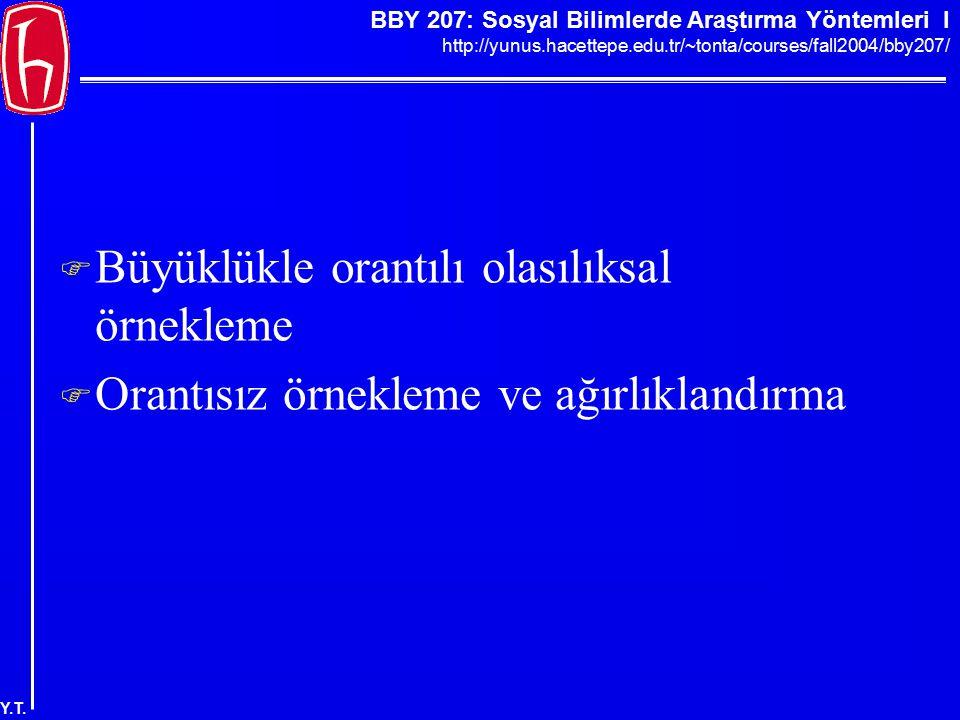 BBY 207: Sosyal Bilimlerde Araştırma Yöntemleri I http://yunus.hacettepe.edu.tr/~tonta/courses/fall2004/bby207/ Y.T.  Büyüklükle orantılı olasılıksal