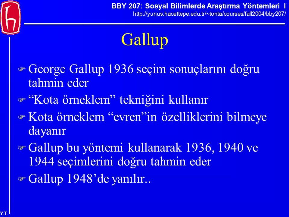 BBY 207: Sosyal Bilimlerde Araştırma Yöntemleri I http://yunus.hacettepe.edu.tr/~tonta/courses/fall2004/bby207/ Y.T. Gallup  George Gallup 1936 seçim