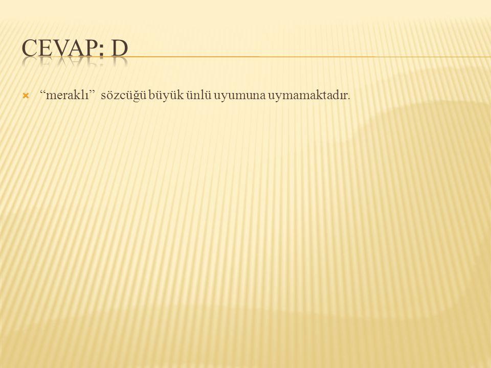  Aşağıdaki cümlelerin hangisinde sert ünsüz benzeşmesine örnek vardır.