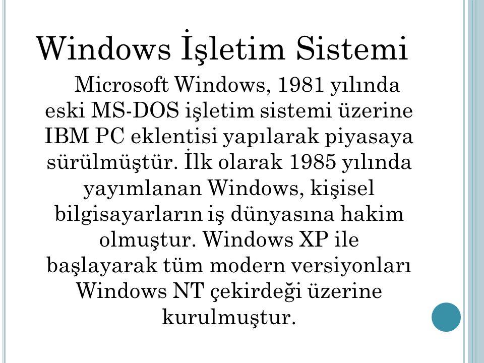 Windows İşletim Sistemi Microsoft Windows, 1981 yılında eski MS-DOS işletim sistemi üzerine IBM PC eklentisi yapılarak piyasaya sürülmüştür. İlk olara