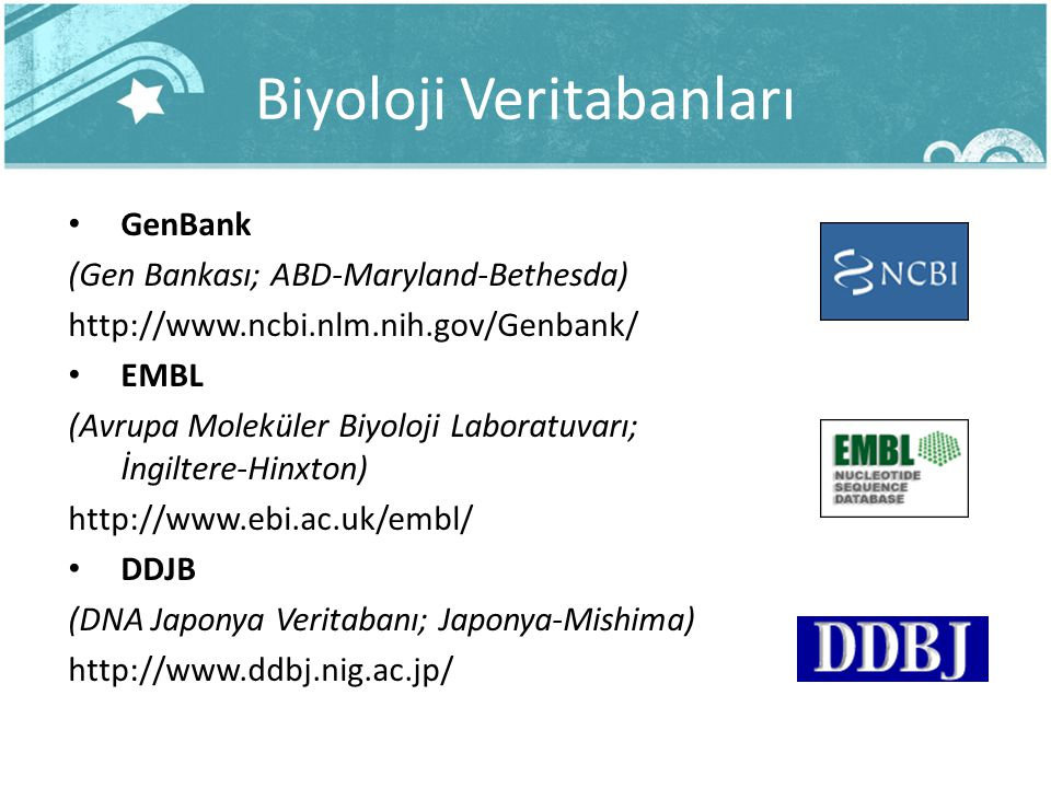 Biyoloji Veritabanları GenBank (Gen Bankası; ABD-Maryland-Bethesda) http://www.ncbi.nlm.nih.gov/Genbank/ EMBL (Avrupa Moleküler Biyoloji Laboratuvarı;