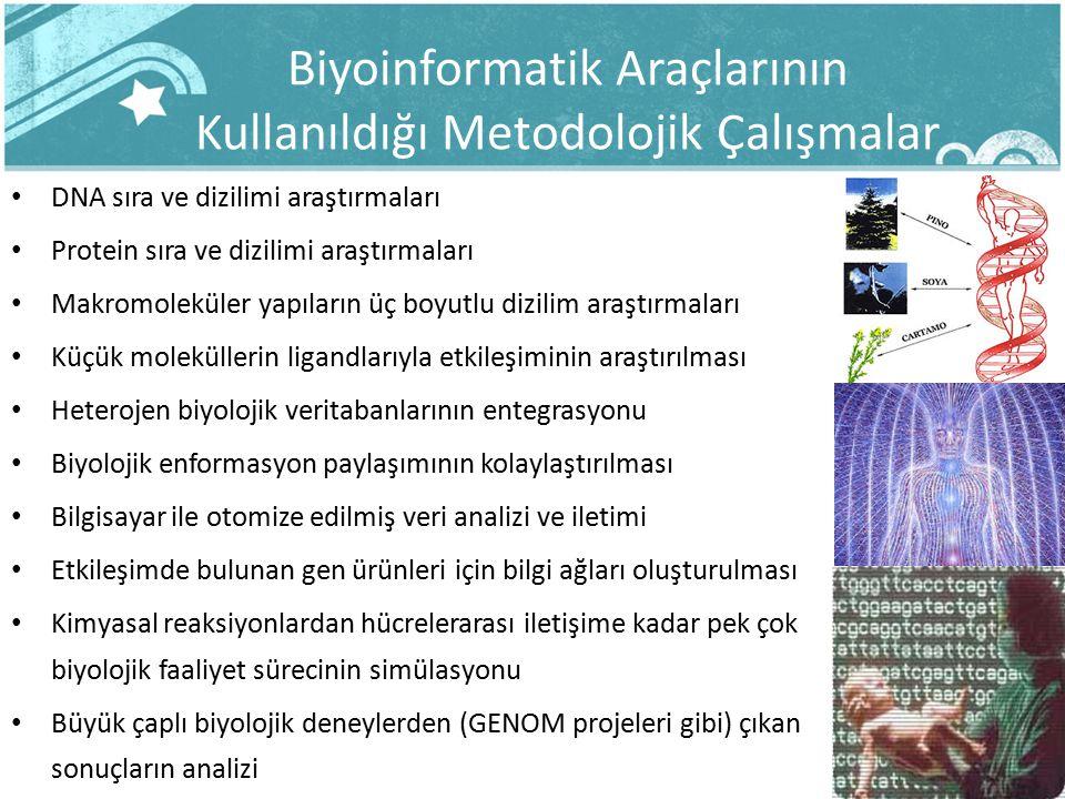 Biyoinformatik Araçlarının Kullanıldığı Metodolojik Çalışmalar DNA sıra ve dizilimi araştırmaları Protein sıra ve dizilimi araştırmaları Makromoleküle