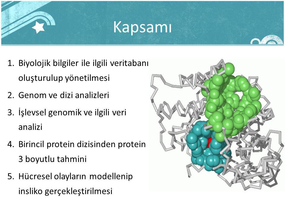 Kapsamı 1.Biyolojik bilgiler ile ilgili veritabanı oluşturulup yönetilmesi 2.Genom ve dizi analizleri 3.İşlevsel genomik ve ilgili veri analizi 4.Biri