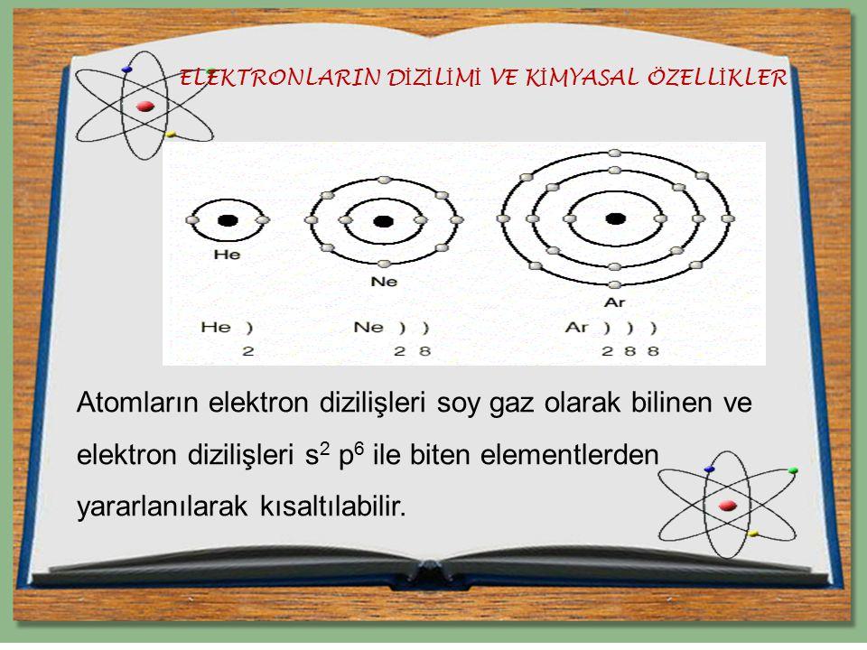 ELEKTRONLARIN D İ Z İ L İ M İ VE K İ MYASAL ÖZELL İ KLER Atomların elektron dizilişleri soy gaz olarak bilinen ve elektron dizilişleri s 2 p 6 ile bit