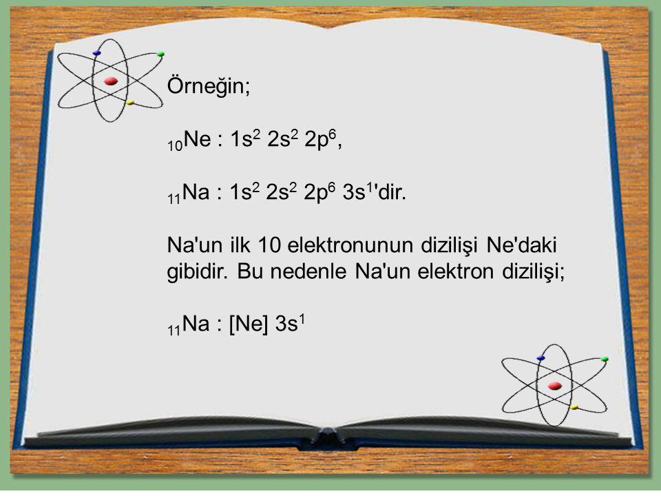 Örneğin; 10 Ne : 1s 2 2s 2 2p 6, 11 Na : 1s 2 2s 2 2p 6 3s 1 'dir. Na'un ilk 10 elektronunun dizilişi Ne'daki gibidir. Bu nedenle Na'un elektron dizil