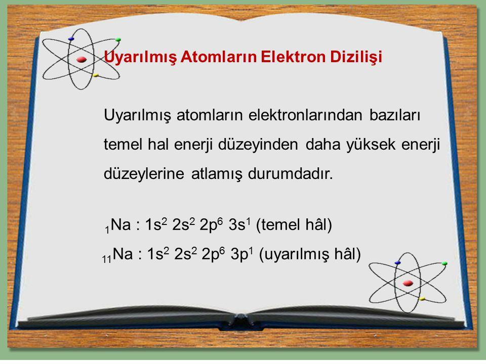 Uyarılmış Atomların Elektron Dizilişi Uyarılmış atomların elektronlarından bazıları temel hal enerji düzeyinden daha yüksek enerji düzeylerine atlamış