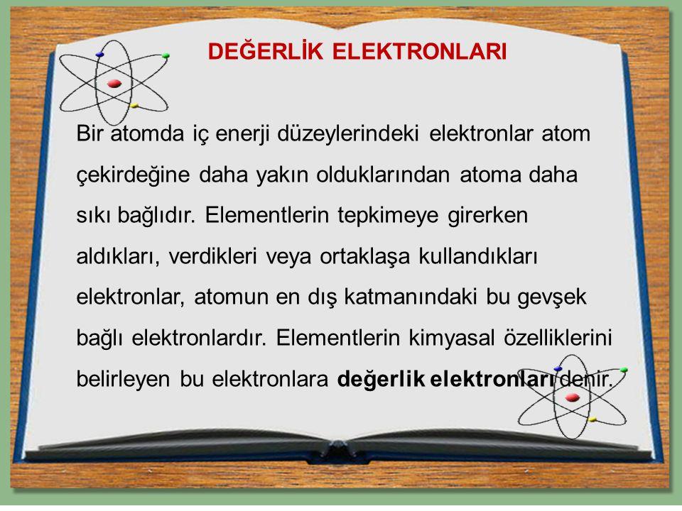 DEĞERLİK ELEKTRONLARI Bir atomda iç enerji düzeylerindeki elektronlar atom çekirdeğine daha yakın olduklarından atoma daha sıkı bağlıdır.