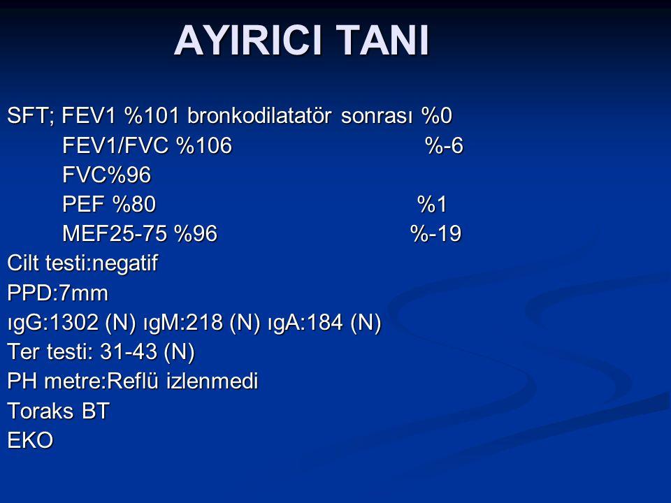 AYIRICI TANI SFT; FEV1 %101 bronkodilatatör sonrası %0 FEV1/FVC %106 %-6 FEV1/FVC %106 %-6 FVC%96 FVC%96 PEF %80 %1 PEF %80 %1 MEF25-75 %96 %-19 MEF25-75 %96 %-19 Cilt testi:negatif PPD:7mm ıgG:1302 (N) ıgM:218 (N) ıgA:184 (N) Ter testi: 31-43 (N) PH metre:Reflü izlenmedi Toraks BT EKO