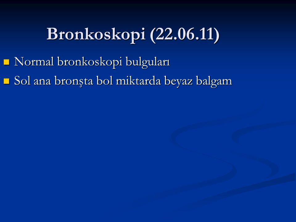 Bronkoskopi (22.06.11) Normal bronkoskopi bulguları Normal bronkoskopi bulguları Sol ana bronşta bol miktarda beyaz balgam Sol ana bronşta bol miktarda beyaz balgam