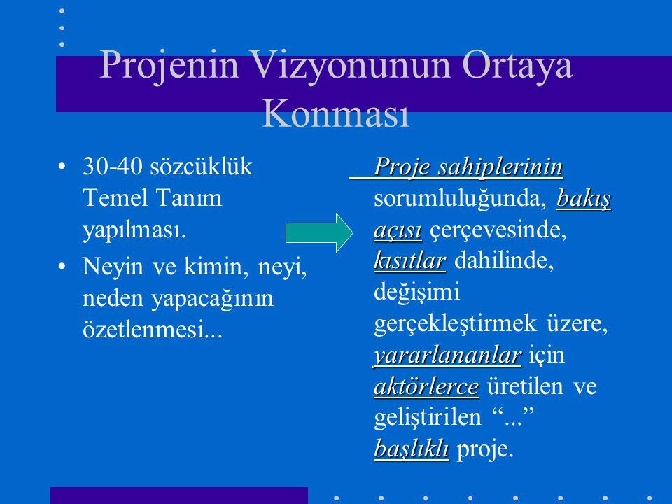 Projenin Vizyonunun Ortaya Konması 30-40 sözcüklük Temel Tanım yapılması.