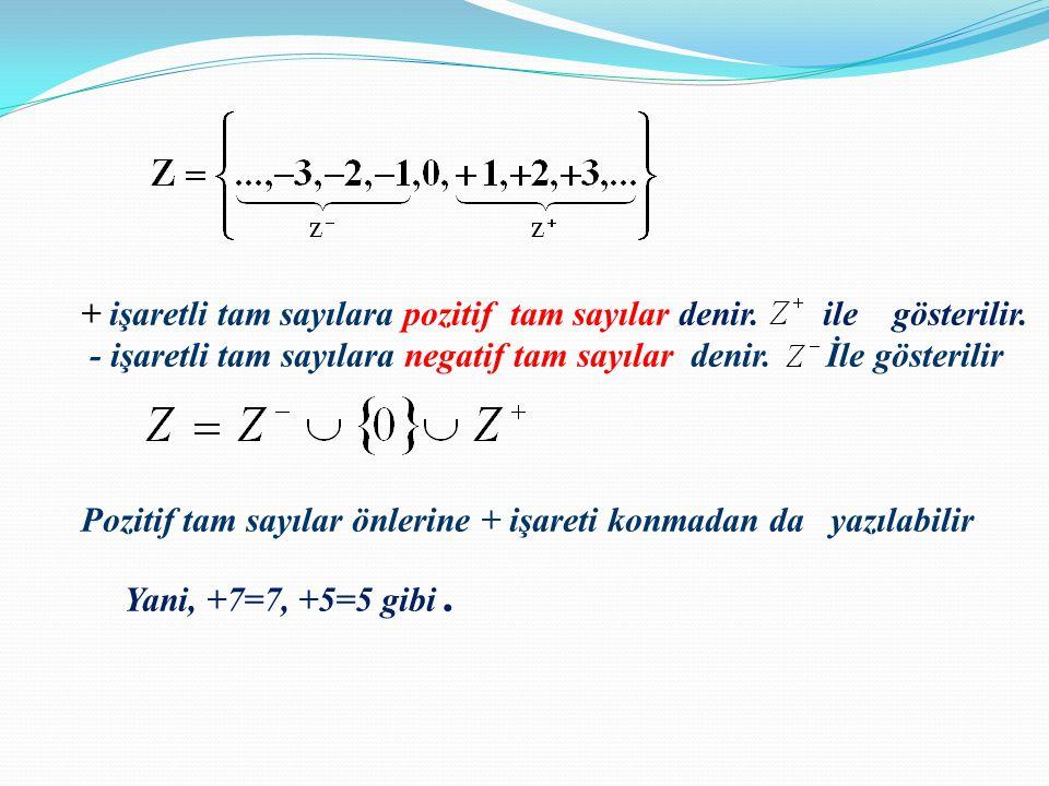 + işaretli tam sayılara pozitif tam sayılar denir. ile gösterilir. - işaretli tam sayılara negatif tam sayılar denir. İle gösterilir Pozitif tam sayıl