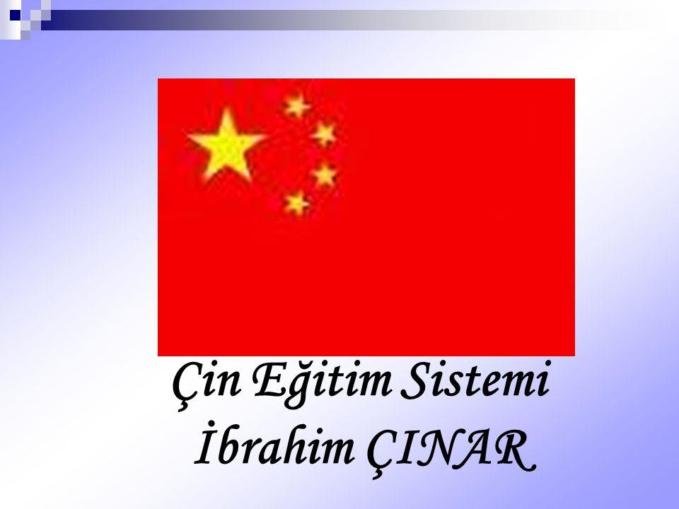Yükseköğretim: Çin de yükseköğretim kurumları üç grup altında toplanır: 1.) Eğitim bakanlığının veya müsterek bakanlıkların yönetiminde olanlar 2.) Vilayet idarelerinin yönetiminde olanlar 3.) Mahalli idarelerce kurulanlar.