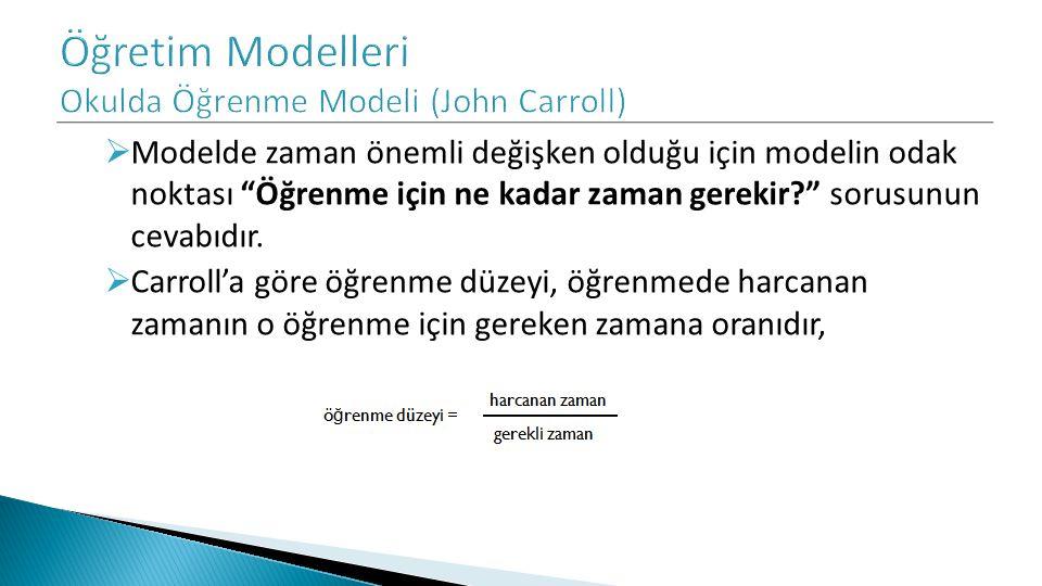  Modelde zaman önemli değişken olduğu için modelin odak noktası Öğrenme için ne kadar zaman gerekir? sorusunun cevabıdır.
