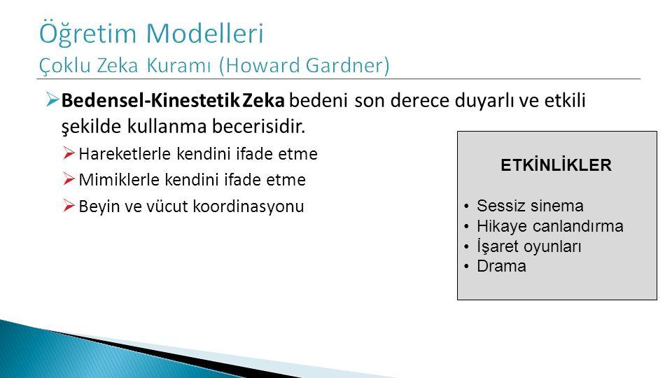  Bedensel-Kinestetik Zeka bedeni son derece duyarlı ve etkili şekilde kullanma becerisidir.