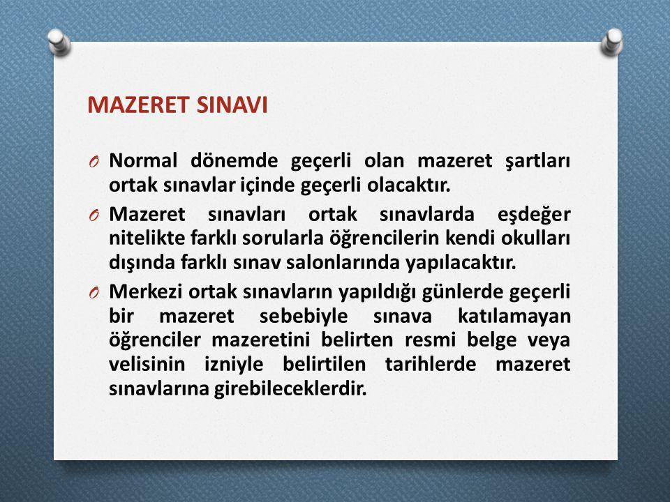 MAZERET SINAVI O Normal dönemde geçerli olan mazeret şartları ortak sınavlar içinde geçerli olacaktır.