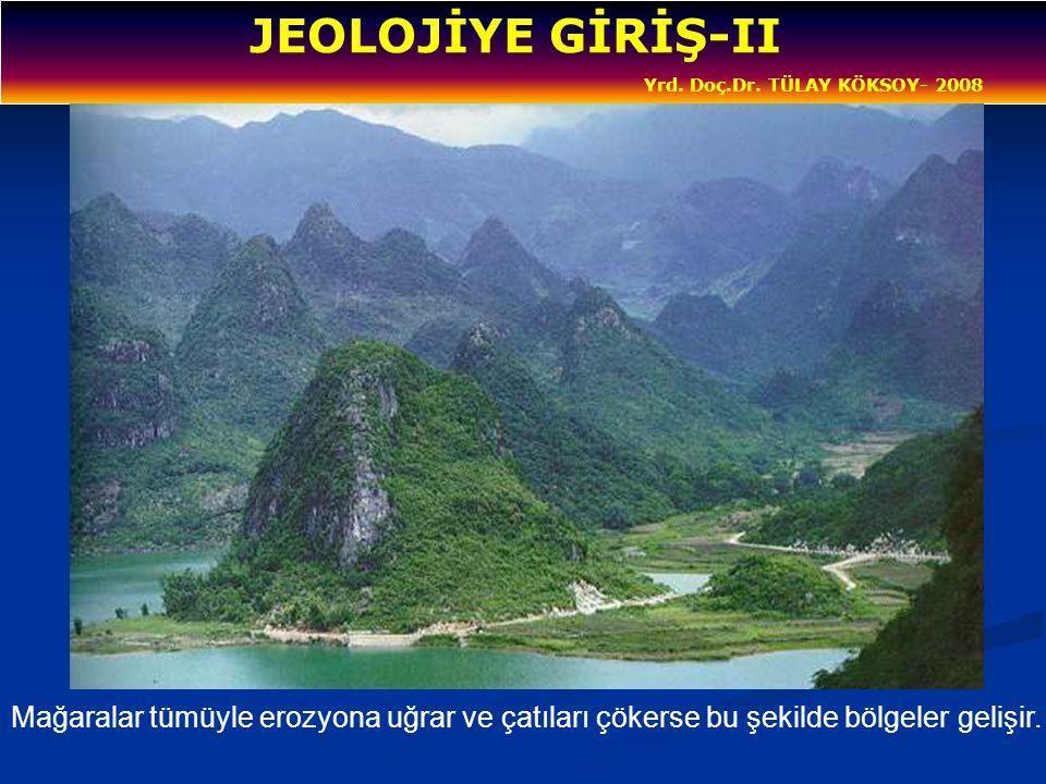 JEOLOJİYE GİRİŞ-II Yrd. Doç.Dr. TÜLAY KÖKSOY- 2008 Mağaralar tümüyle erozyona uğrar ve çatıları çökerse bu şekilde bölgeler gelişir.