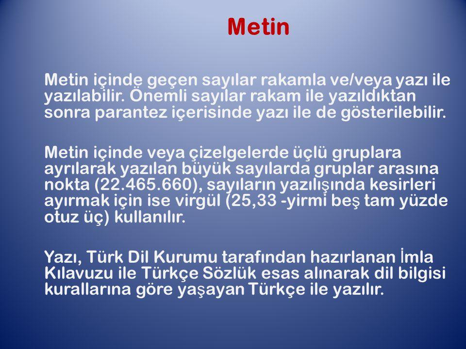 Metin Metin içinde geçen sayılar rakamla ve/veya yazı ile yazılabilir.