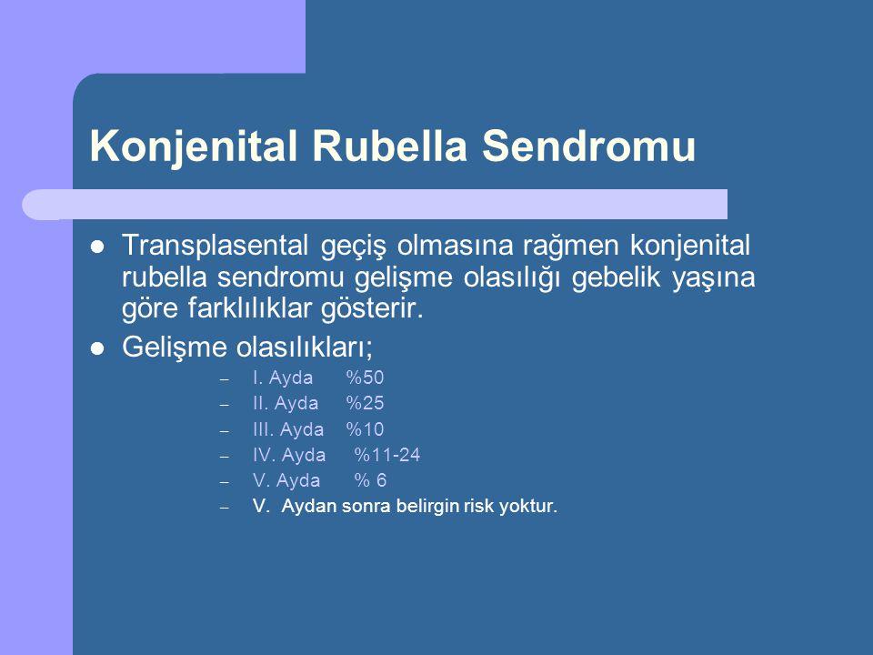 Konjenital Rubella Sendromu Transplasental geçiş olmasına rağmen konjenital rubella sendromu gelişme olasılığı gebelik yaşına göre farklılıklar göster