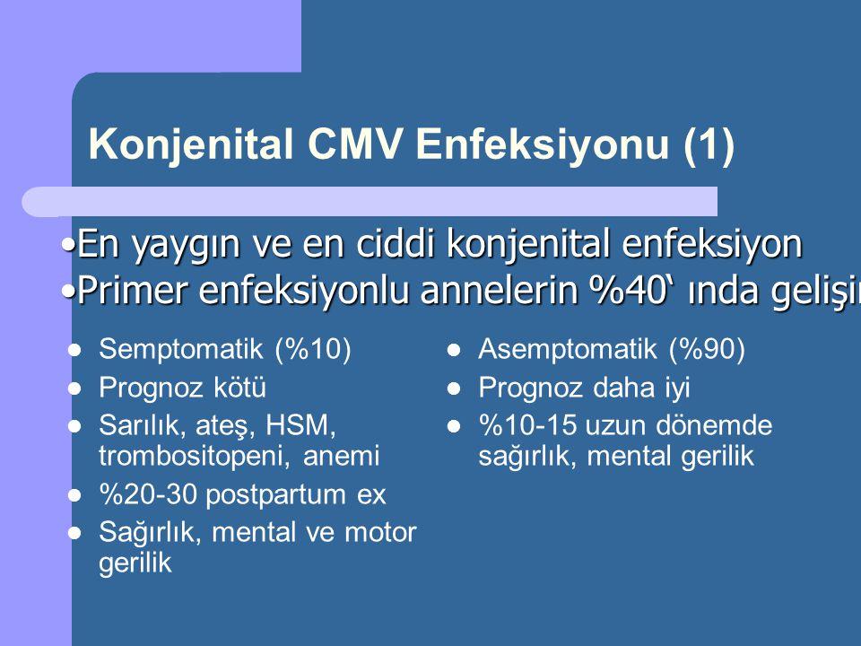 Konjenital CMV Enfeksiyonu (1) Semptomatik (%10) Prognoz kötü Sarılık, ateş, HSM, trombositopeni, anemi %20-30 postpartum ex Sağırlık, mental ve motor