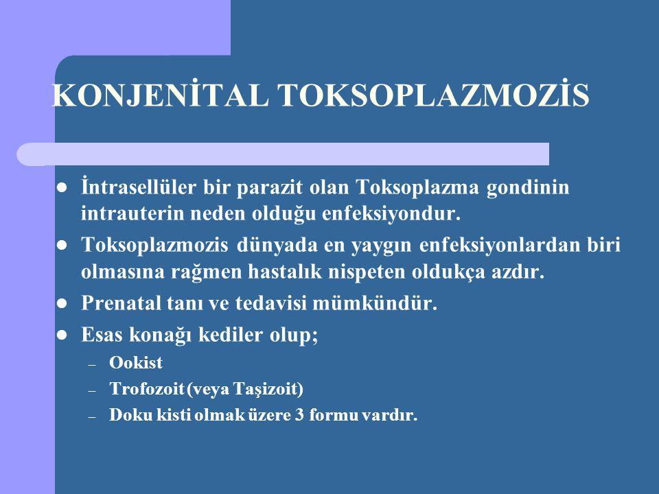 KONJENİTAL TOKSOPLAZMOZİS İntrasellüler bir parazit olan Toksoplazma gondinin intrauterin neden olduğu enfeksiyondur. Toksoplazmozis dünyada en yaygın