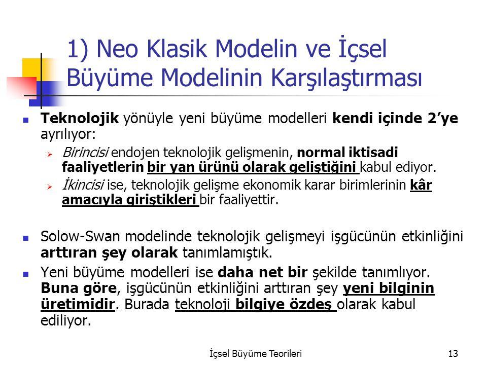 İçsel Büyüme Teorileri13 1) Neo Klasik Modelin ve İçsel Büyüme Modelinin Karşılaştırması Teknolojik yönüyle yeni büyüme modelleri kendi içinde 2'ye ay