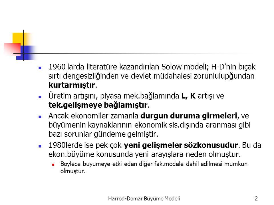 1960 larda literatüre kazandırılan Solow modeli; H-D'nin bıçak sırtı dengesizliğinden ve devlet müdahalesi zorunlulupğundan kurtarmıştır. Üretim artış