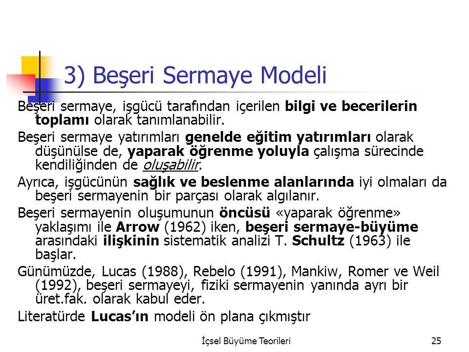 İçsel Büyüme Teorileri25 3) Beşeri Sermaye Modeli Beşeri sermaye, işgücü tarafından içerilen bilgi ve becerilerin toplamı olarak tanımlanabilir.