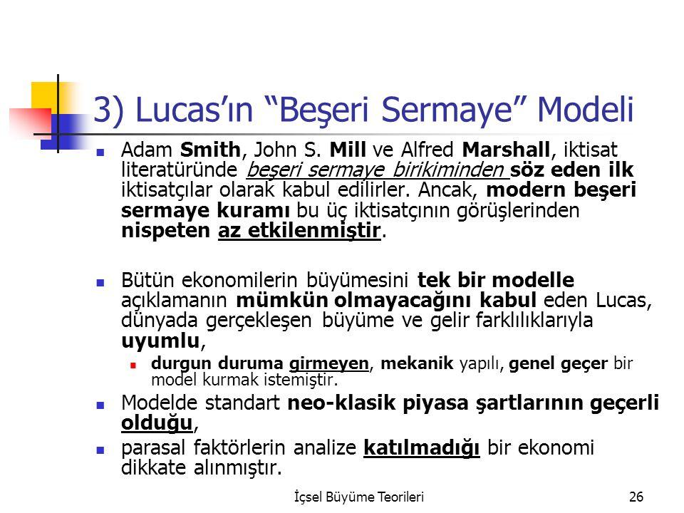 """İçsel Büyüme Teorileri26 3) Lucas'ın """"Beşeri Sermaye"""" Modeli Adam Smith, John S. Mill ve Alfred Marshall, iktisat literatüründe beşeri sermaye birikim"""