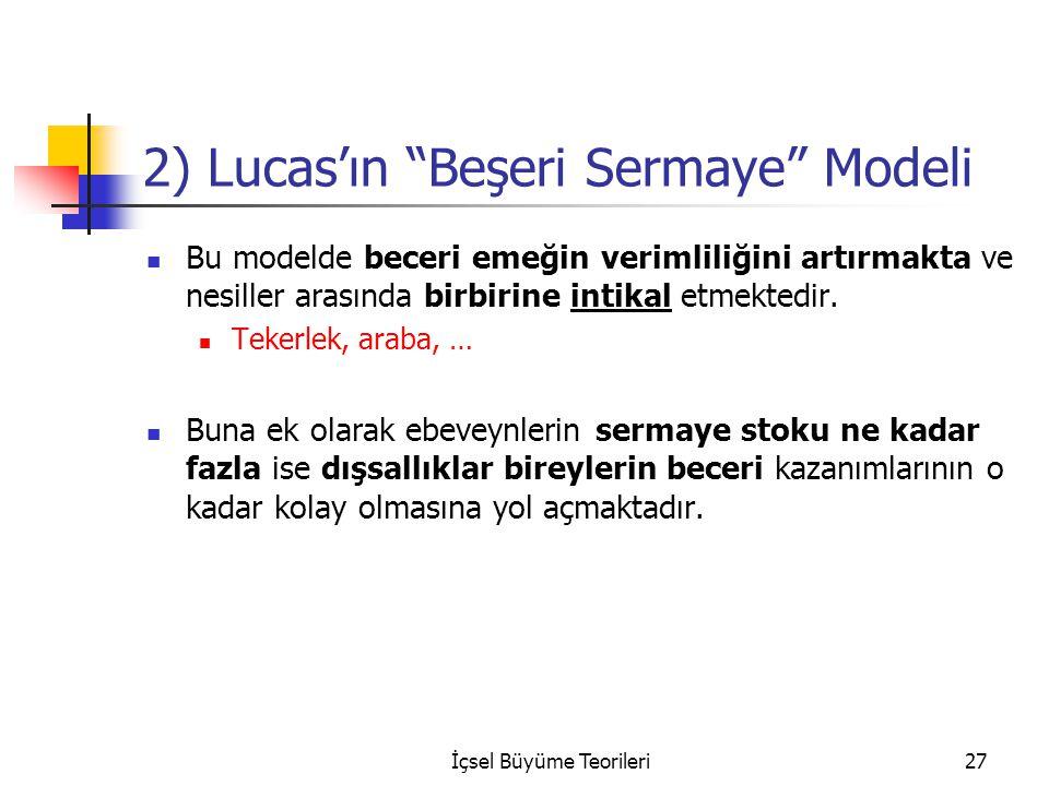 """İçsel Büyüme Teorileri27 2) Lucas'ın """"Beşeri Sermaye"""" Modeli Bu modelde beceri emeğin verimliliğini artırmakta ve nesiller arasında birbirine intikal"""
