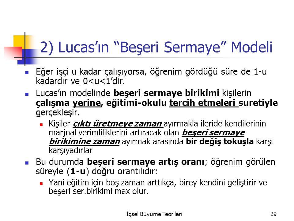 İçsel Büyüme Teorileri29 2) Lucas'ın Beşeri Sermaye Modeli Eğer işçi u kadar çalışıyorsa, öğrenim gördüğü süre de 1-u kadardır ve 0<u<1'dir.