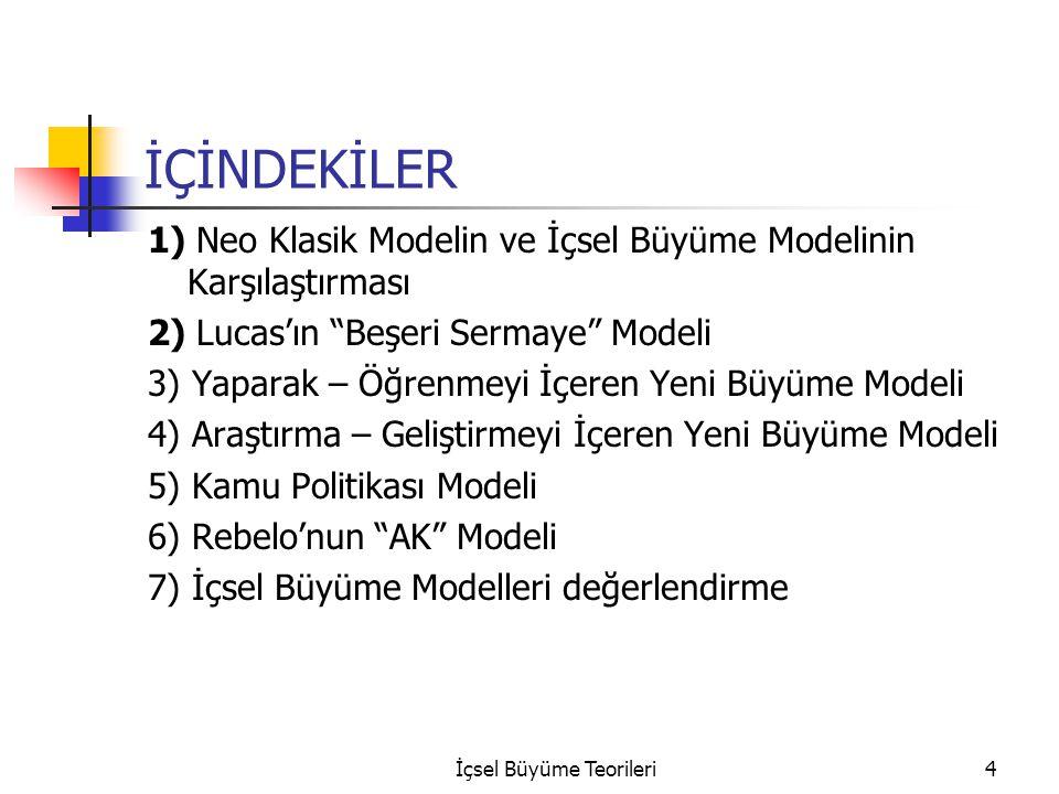 İçsel Büyüme Teorileri4 İÇİNDEKİLER 1) Neo Klasik Modelin ve İçsel Büyüme Modelinin Karşılaştırması 2) Lucas'ın Beşeri Sermaye Modeli 3) Yaparak – Öğrenmeyi İçeren Yeni Büyüme Modeli 4) Araştırma – Geliştirmeyi İçeren Yeni Büyüme Modeli 5) Kamu Politikası Modeli 6) Rebelo'nun AK Modeli 7) İçsel Büyüme Modelleri değerlendirme