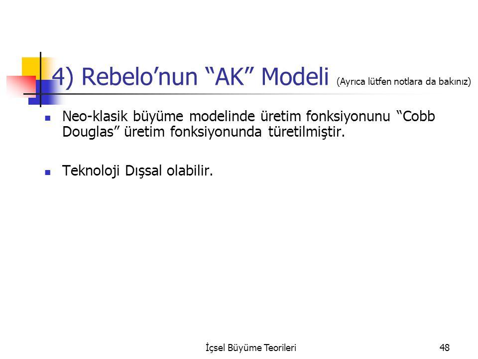 """İçsel Büyüme Teorileri48 4) Rebelo'nun """"AK"""" Modeli (Ayrıca lütfen notlara da bakınız) Neo-klasik büyüme modelinde üretim fonksiyonunu """"Cobb Douglas"""" ü"""