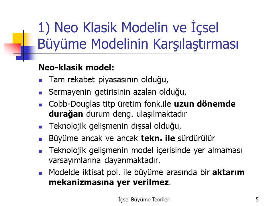İçsel Büyüme Teorileri5 1) Neo Klasik Modelin ve İçsel Büyüme Modelinin Karşılaştırması Neo-klasik model: Tam rekabet piyasasının olduğu, Sermayenin g