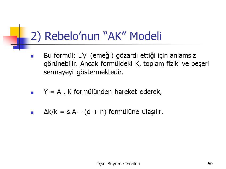 """İçsel Büyüme Teorileri50 2) Rebelo'nun """"AK"""" Modeli Bu formül; L'yi (emeği) gözardı ettiği için anlamsız görünebilir. Ancak formüldeki K, toplam fiziki"""