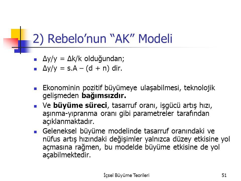 """İçsel Büyüme Teorileri51 2) Rebelo'nun """"AK"""" Modeli Δy/y = Δk/k olduğundan; Δy/y = s.A – (d + n) dir. Ekonominin pozitif büyümeye ulaşabilmesi, teknolo"""
