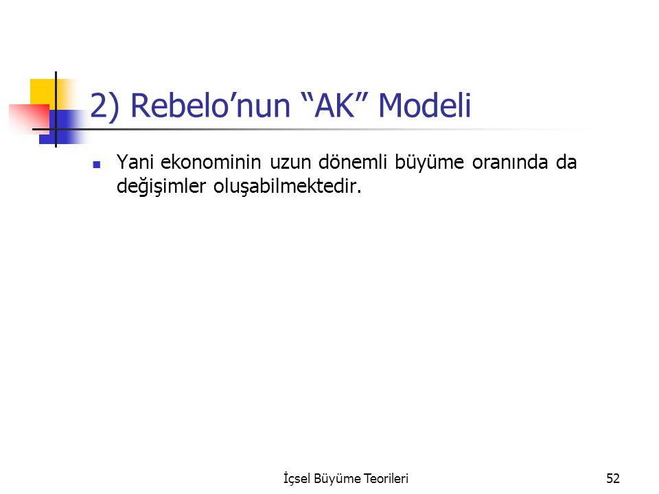 """İçsel Büyüme Teorileri52 2) Rebelo'nun """"AK"""" Modeli Yani ekonominin uzun dönemli büyüme oranında da değişimler oluşabilmektedir."""