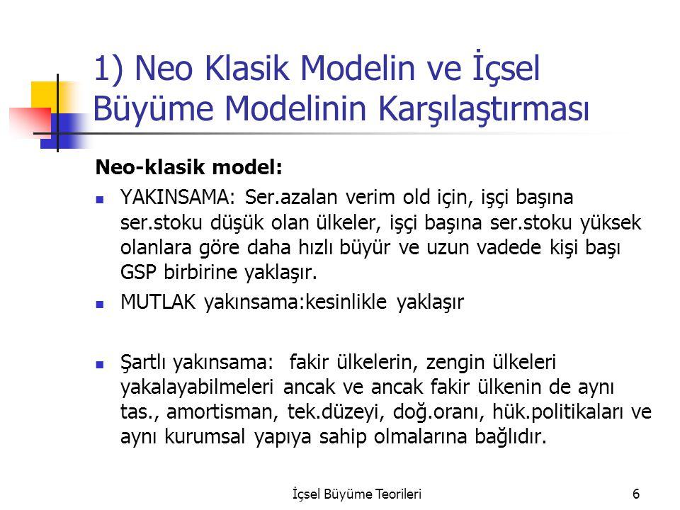 İçsel Büyüme Teorileri6 1) Neo Klasik Modelin ve İçsel Büyüme Modelinin Karşılaştırması Neo-klasik model: YAKINSAMA: Ser.azalan verim old için, işçi b
