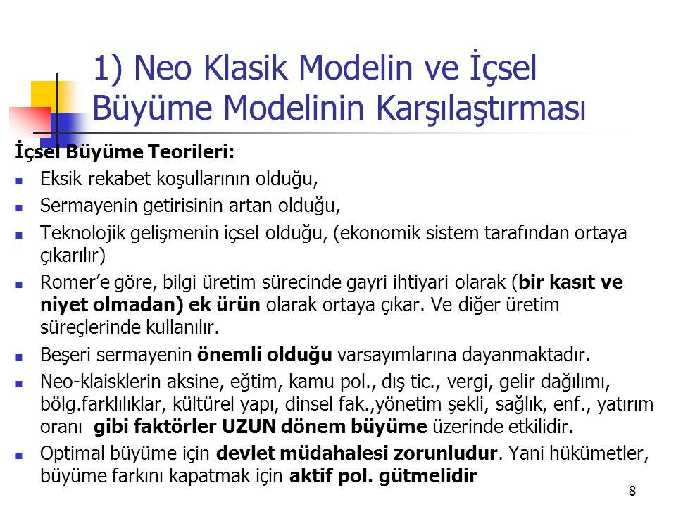 8 1) Neo Klasik Modelin ve İçsel Büyüme Modelinin Karşılaştırması İçsel Büyüme Teorileri: Eksik rekabet koşullarının olduğu, Sermayenin getirisinin ar